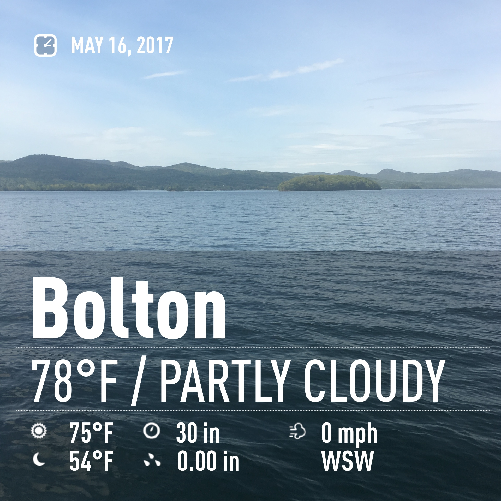 Lake George Fishing Report: Weather Photo 5_16_17